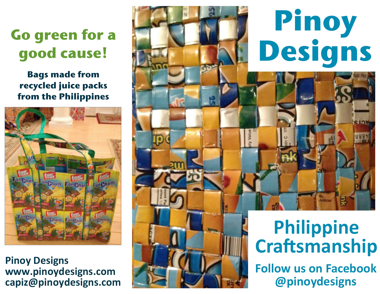 Bags made from recycled juice packs from the Philippines